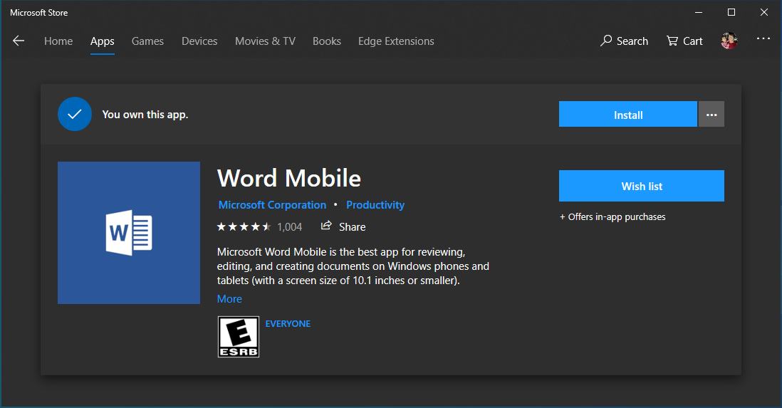 Install Word Mobile from Microsoft Store