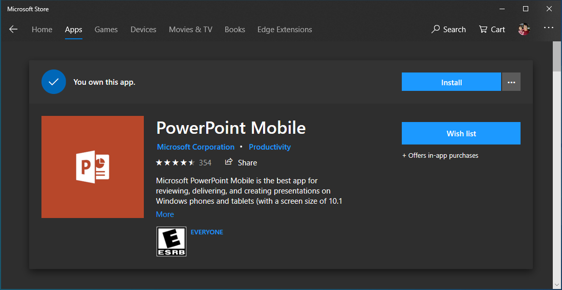 PowerPoint Mobile app on Microsoft Store