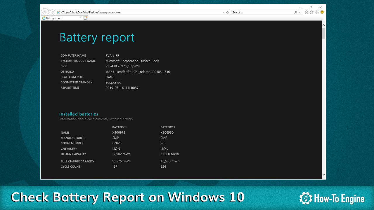 How to check battery report on Windows 10