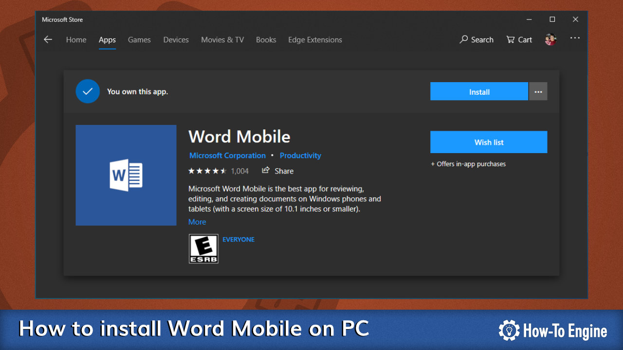 Installing Word Mobile on PC