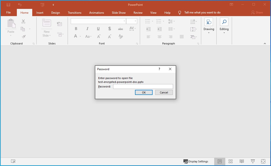 Type the Password and click OK to open the PowerPoint document