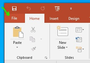 Open PowerPoint File Menu
