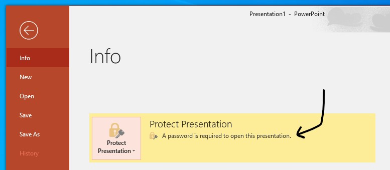 The PowerPoint presentation is protected with a password