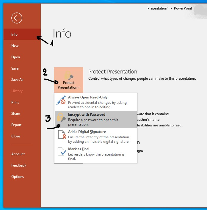 Encrypt a PowerPoint presentation with a password