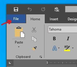 Open Word File Menu
