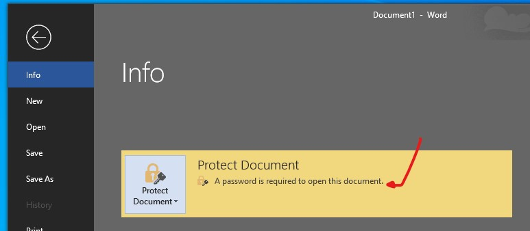 The Word document is encrypted